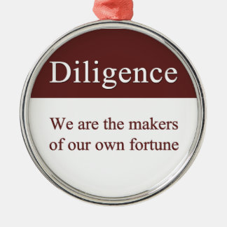 Diligence creates our fortune Silver-Colored round decoration