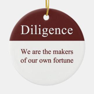 Diligence creates our fortune round ceramic decoration