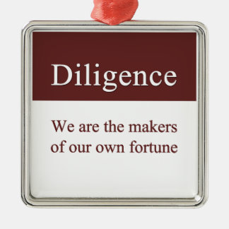 Diligence creates our fortune Silver-Colored square decoration