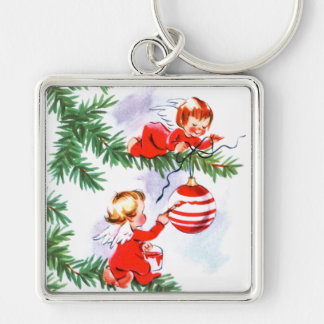 Diligent Angels Silver-Colored Square Key Ring