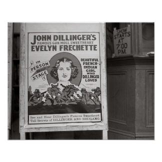 Dillinger's Gun Moll Sweetheart, 1938. Vintage Poster