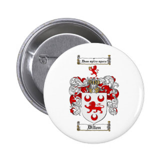DILLON FAMILY CREST -  DILLON COAT OF ARMS 6 CM ROUND BADGE