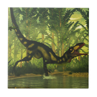 Dilong dinosaur in a forest small square tile