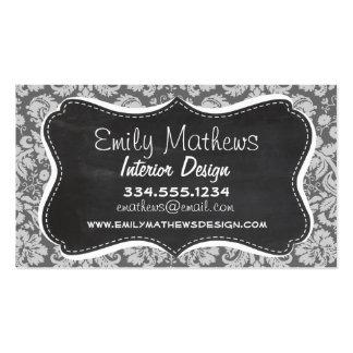 Dim Gray Damask; Retro Chalkboard Business Card