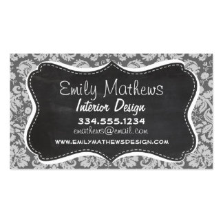 Dim Gray Damask; Retro Chalkboard Pack Of Standard Business Cards