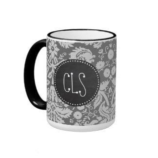 Dim Gray Damask; Retro Chalkboard Ringer Mug