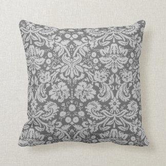 Dim Gray Damask Throw Pillow