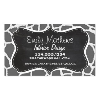 Dim Gray Giraffe Animal Print; Chalkboard Double-Sided Standard Business Cards (Pack Of 100)