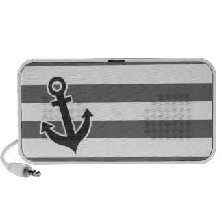 Dim Gray Horizontal Stripes; Nautical Anchor Travelling Speakers