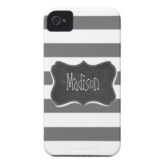 Dim Gray Horizontal Stripes; Vintage Chalkboard iPhone 4 Cases
