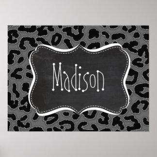 Dim Gray Leopard Animal Print; Chalkboard