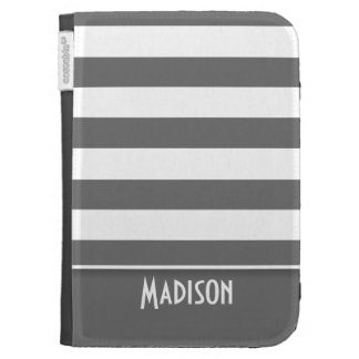 Dim Gray Stripes; Personalized Kindle Keyboard Covers