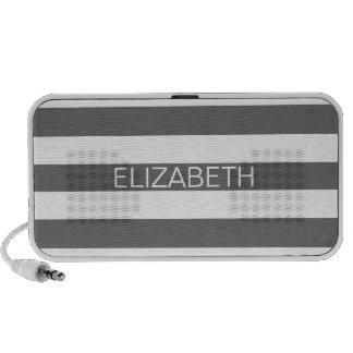 Dim Gray White Horiz Preppy Stripe Name Monogram Travel Speaker