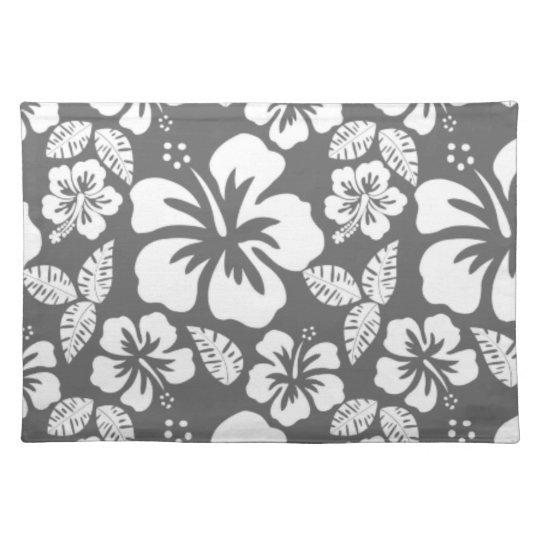 Dim Grey Tropical Hibiscus Placemat