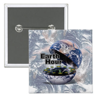 Dim The Lights For Earth Hour (Earth Open) 15 Cm Square Badge