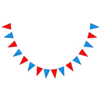 "Dimensions: (16) 5.5"" x 8"" flags; 6' long RED BLUE Bunting"