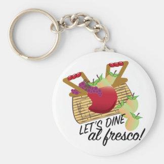 Dine Al Fresco Basic Round Button Key Ring