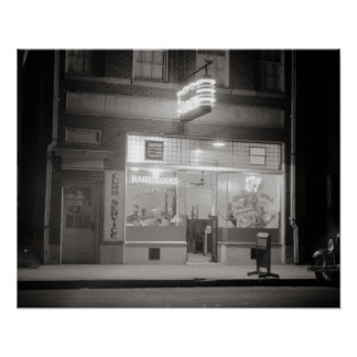 Diner at Night, 1940. Vintage Photo Poster