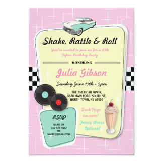 Diner Birthday Party 1950s Fifties Retro Invite