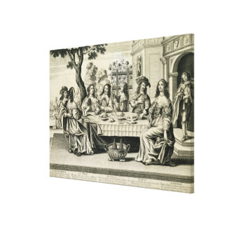 Diners on a terrace with a formal garden below, en canvas print