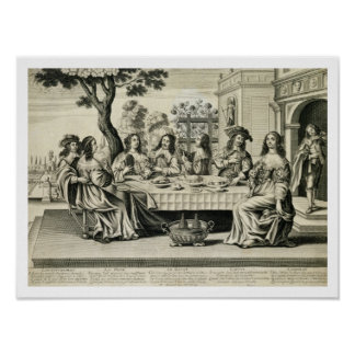 Diners on a terrace with a formal garden below, en poster