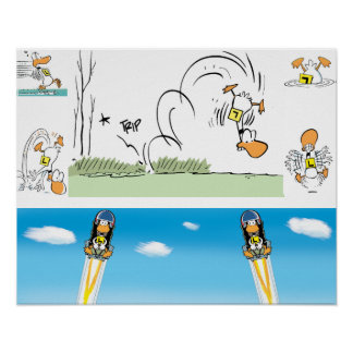 Ding Duck Take-Off Cartoon Poster