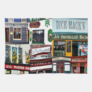 Dingle Pubs, Collage, Irish, Ireland, tea towel