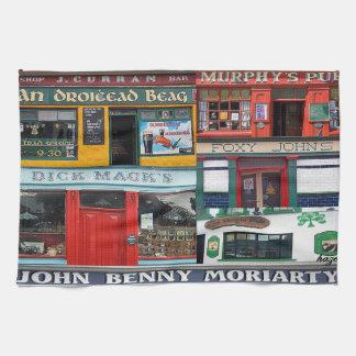 Dingle Pubs Collage, Irish, Ireland Tea Towel, Tea Towel
