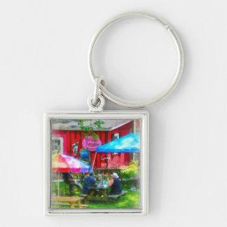 Dining Al Fresco Silver-Colored Square Key Ring