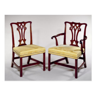 Dining chairs, with interlaced splat backs postcard