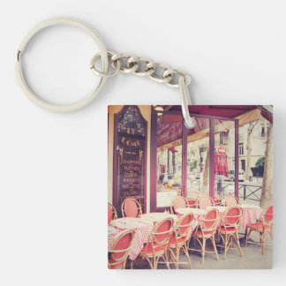 Dining In Paris Al Fresco Double-Sided Square Acrylic Key Ring