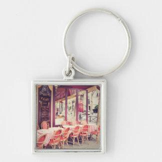 Dining In Paris Al Fresco Silver-Colored Square Key Ring