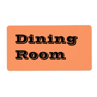 Dining Room Moving Labels in Orange