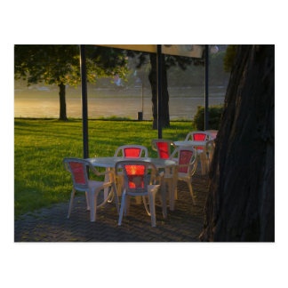 Dining table and chairs by the Danube River, Postcard