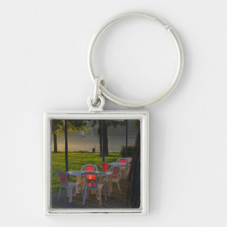Dining table and chairs by the Danube River, Silver-Colored Square Key Ring