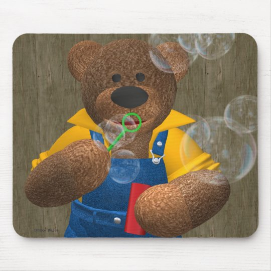 Dinky Bear: Blowing Bubbles Mouse Pad