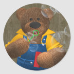 Dinky Bear: Blowing Bubbles Round Sticker