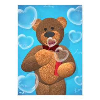 Dinky Bear blowing Heart Bubbles 13 Cm X 18 Cm Invitation Card