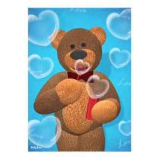 Dinky Bear blowing Heart Bubbles Announcements