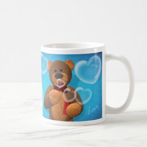 Dinky Bear blowing Heart Bubbles Coffee Mugs