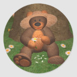 Dinky Bear in Love Round Stickers