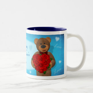Dinky Bear with Heart of Roses Two-Tone Mug