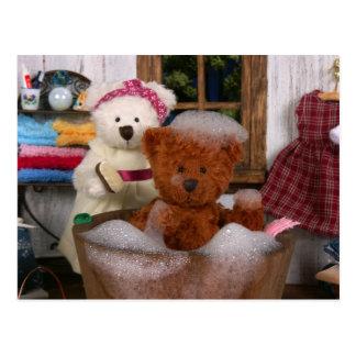 Dinky Bears: Bath Day Postcard