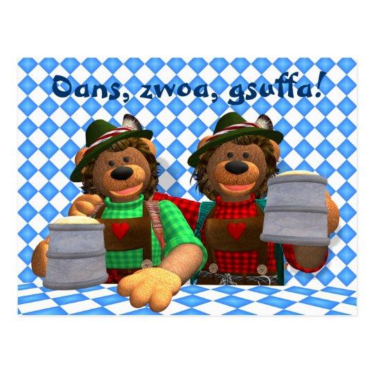Dinky Bears Bavarian Oktoberfest Bears Postcard