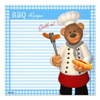 Dinky Bears BBQ Chef 13 Cm X 13 Cm Square Invitation Card