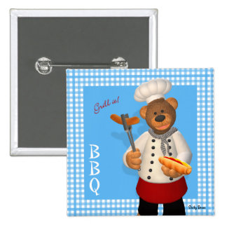 Dinky Bears BBQ Chef 15 Cm Square Badge