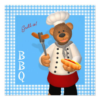 Dinky Bears BBQ Chef Custom Invites