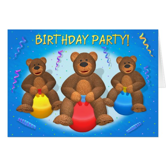 Dinky Bears Birthday Party Card