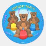 Dinky Bears Birthday Party Round Stickers