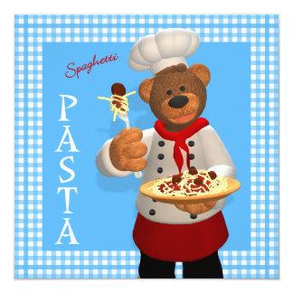 Dinky Bears Chef: Pasta 13 Cm X 13 Cm Square Invitation Card